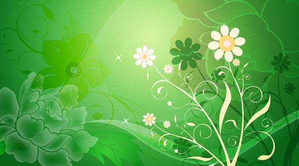 花弁と緑の背景 Abstract Flower with Green Background