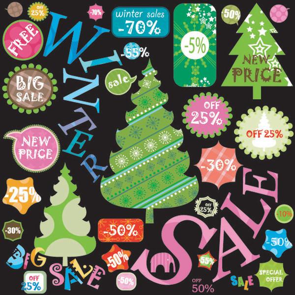 ウィンターセールの値引きステッカー winter sale stickers