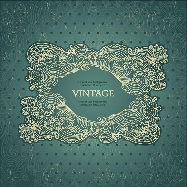 美しいヴィンテージ風レース飾りの背景 Continental patterns lace shading corners