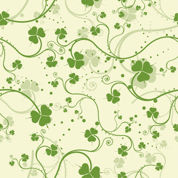 シームレスな緑の植物柄背景 Green Seamless Floral Vector Background