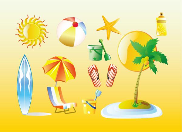 真夏の海をイメージしたクリップアート Summer Vacation Graphics