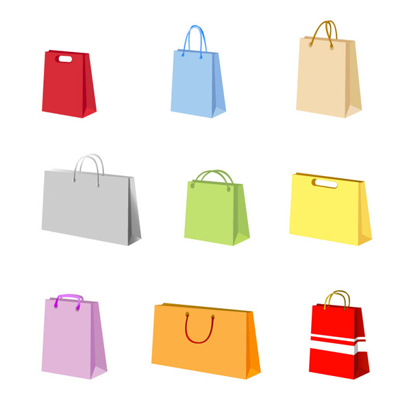 カラフルな紙袋のクリップアート variety of colorful clip art bag1
