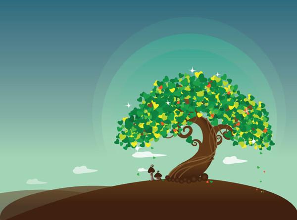 ウィッシュ ツリーのイラスト Wish Tree Vector Illustration