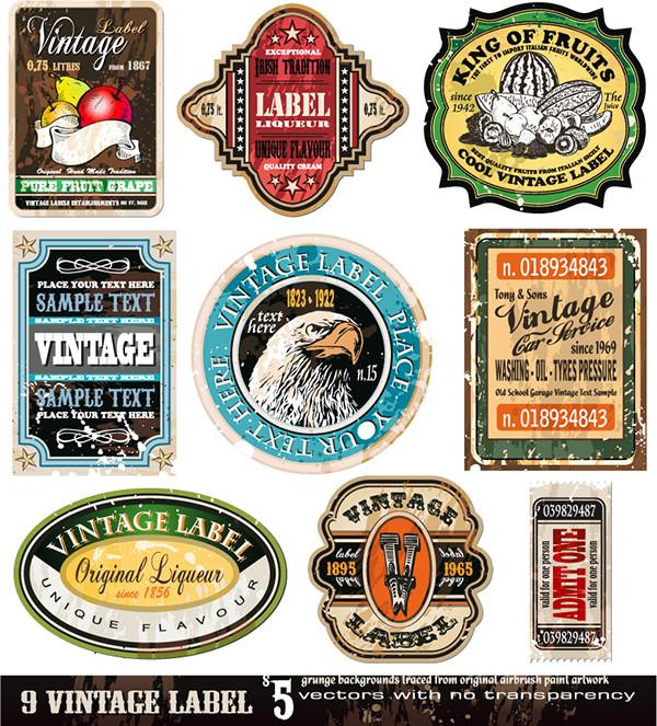 レトロなラベルのデザイン見本 European-style retro labels screen stickers3