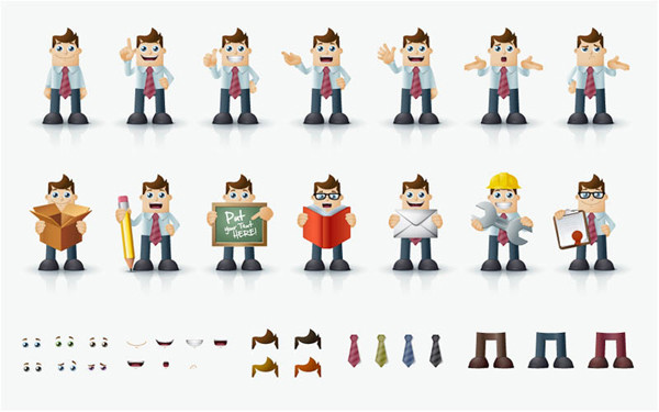 働く人の着せ替えアイコン cartoon male character in different poses