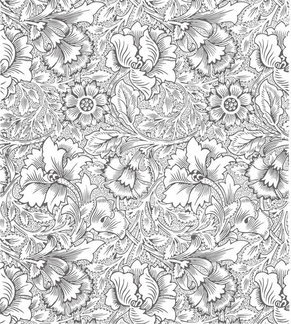 美しい花ビラの線画をシームレスに描いた背景 Flowers background vector