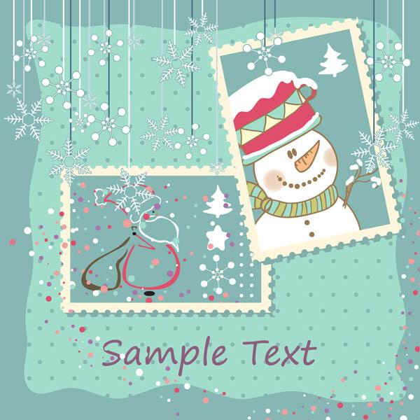 エレガントなクリスマス スタンプ elegant christmas stamp vector3