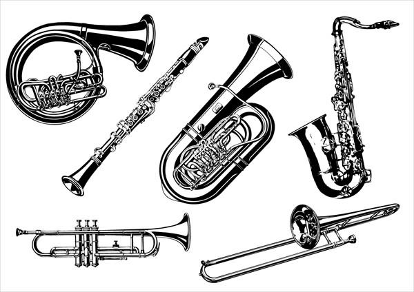 管楽器のイラスト線画 musical instruments vector