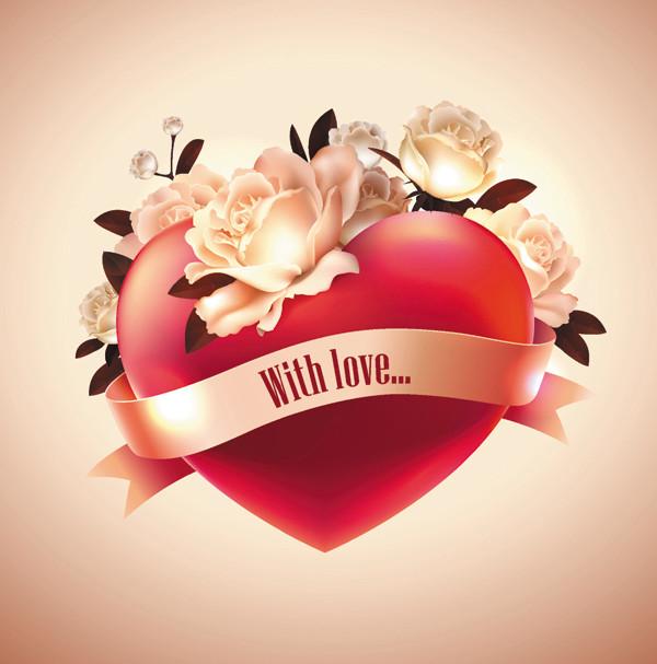 薔薇の花とリボンで飾ったハート Heart-shaped love labels
