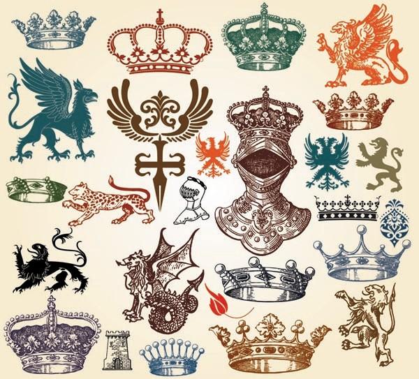 ヨーロッパ調の古典的な装飾素材 european classical pattern totem vector3