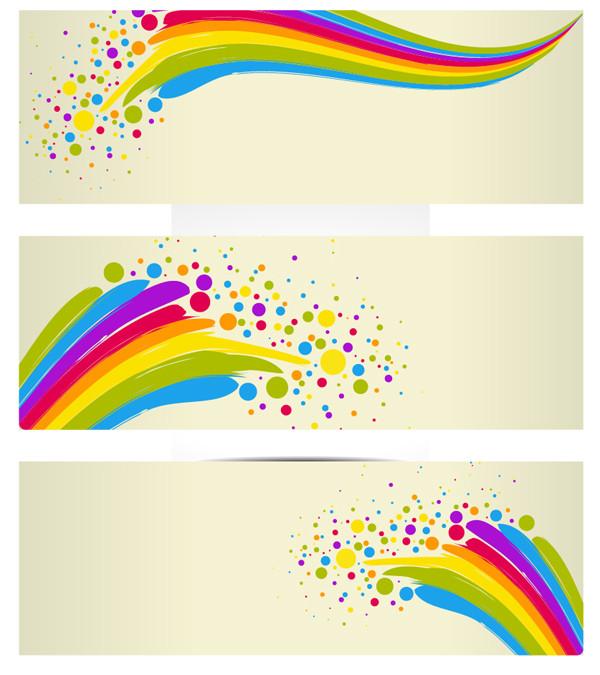 カラフルな曲線とドットが美しいバナー Colorful Banners Background
