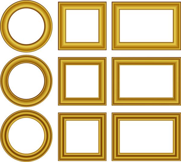 陰影のある金色のフレーム見本 Gold Frames Set