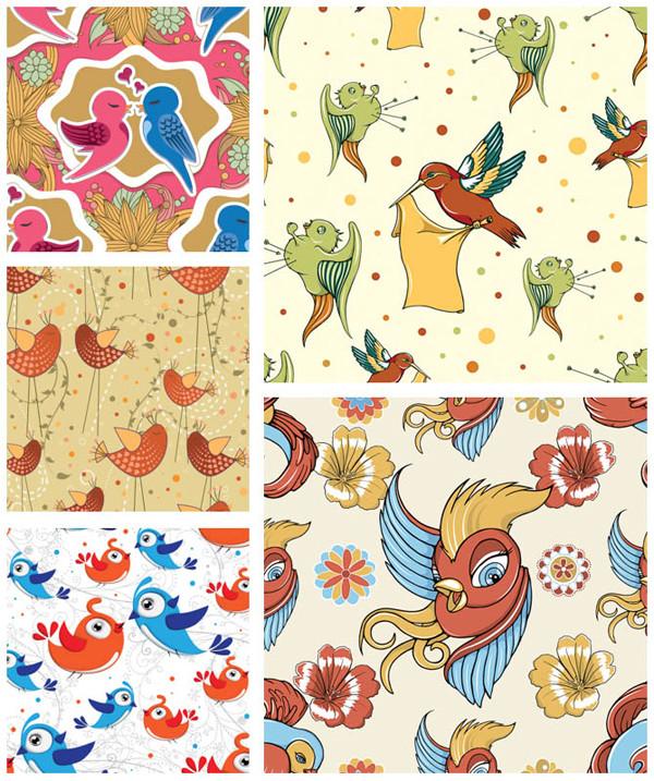 シームレスな可愛い鳥の背景 seamless bird backgrounds with beautiful cartoon bird illustrations