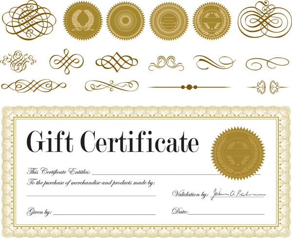証明書テンプレートと飾付け素材 european pattern certificate