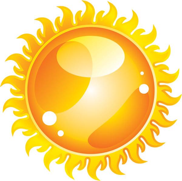 輝く太陽のクリップアート The sun flame cartoon2