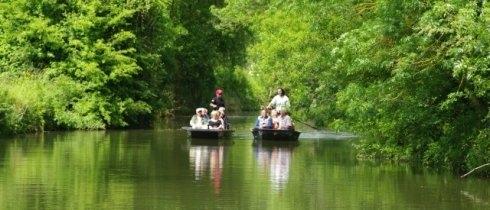 barques et touristes dans le Marais Poitevin
