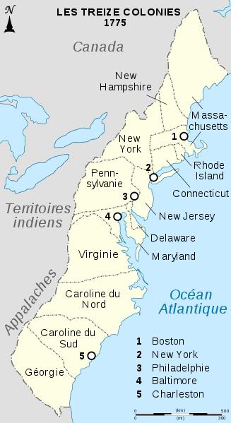 Document 1_les 13 colonies anglaises d'Amérique du Nord, carte Wikipédia