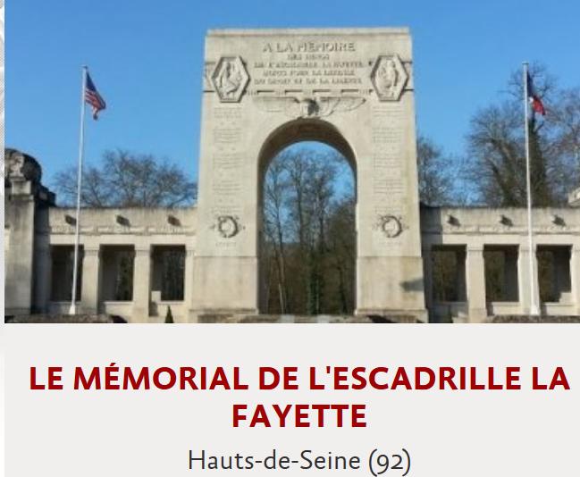 Document 9_ le mémorial de l'escadrille La Fayette en région parisienne dans le parc de St Cloud
