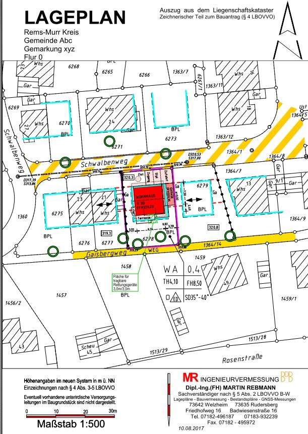 Lageplan zum Bauantrag nach der LBOVVO B-W