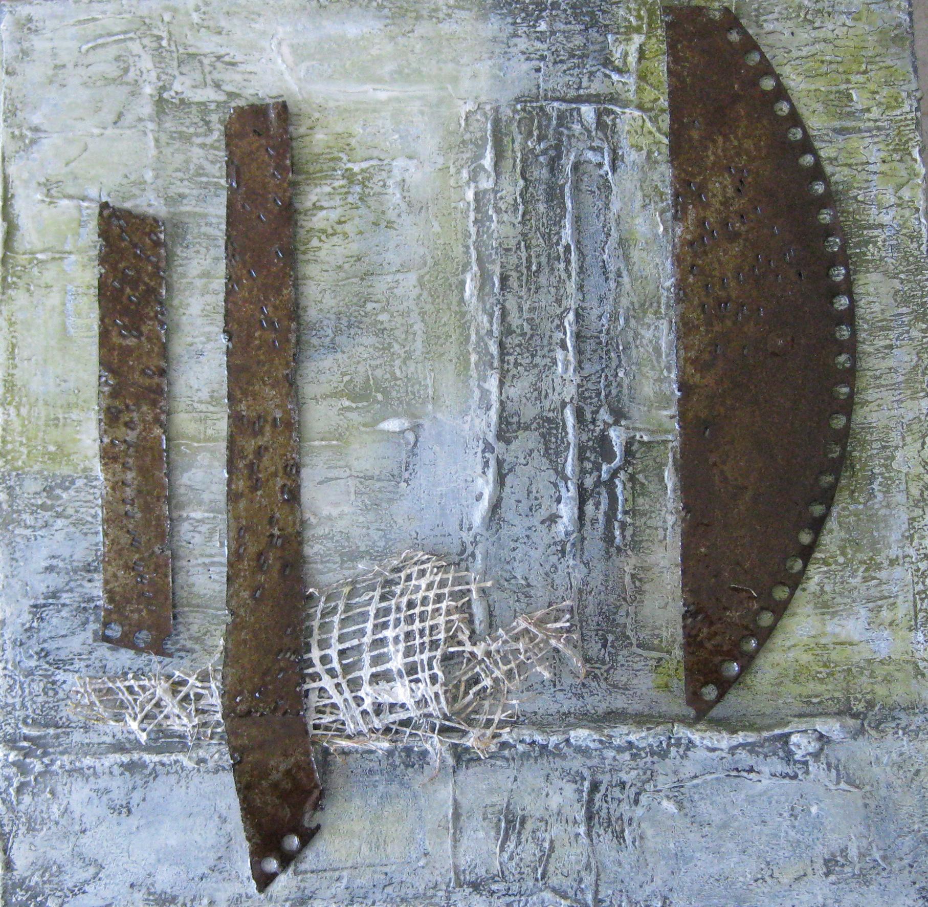 ohne titel, 40 x 40, mixed media, Metall, Harzguss