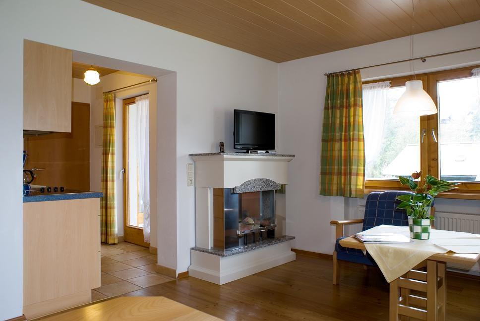 Wohnbereich mit Kamin - Ferienwohnung 4 - Hilbrand Appartements
