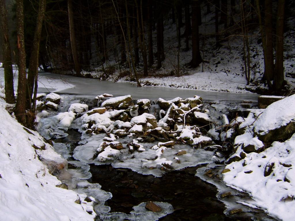 Ölschnitz mit Stauwehr Fluss-aufwärts