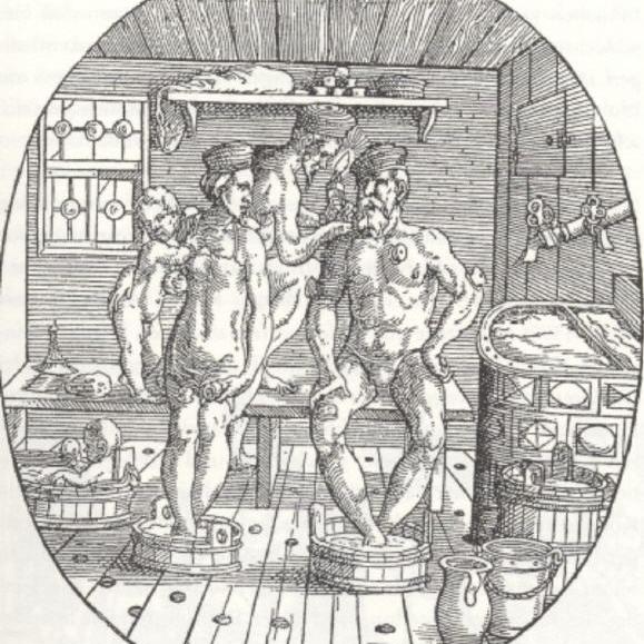 Eine Familie wird vom Bader geschröpft (Holzschnitt von Jost Ammann, 16. Jahrhundert)