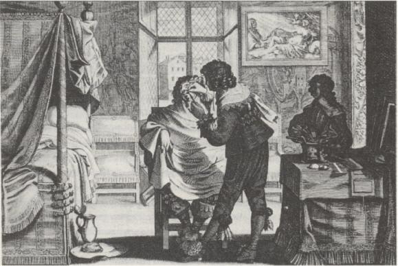 Kupferstich, 17. Jahrhundert Seit jeher genoß der Barbier im adligen Haushalt eine Vertrauensstellung.