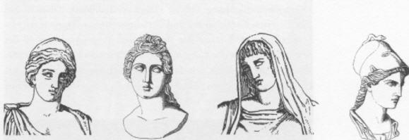 In der Reihenfolge: Hera, Aphrodite, Hestia, Pallas