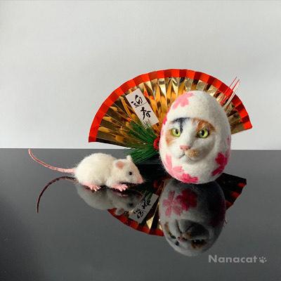 【三毛猫ダルマと鼠】2020.1 新年のご挨拶用の干支の鼠と猫ダルマ