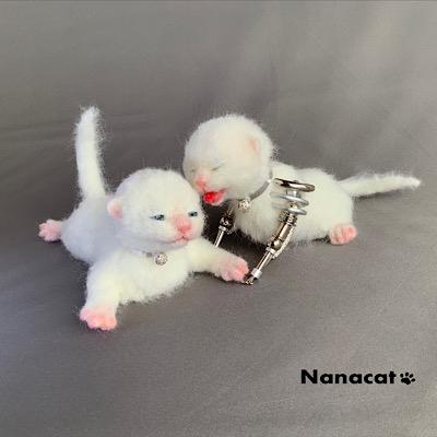 【にゃんドロイド白仔猫】片方の子猫にはメカの部分がありますが、もう一方にはありません。この子猫達は生きているのか?メカなのか?