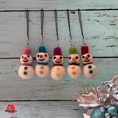 【雪ダルマストラップ】2019.12~ クリスマス向け親子で楽しめるワークショップ用。所要時間約30分