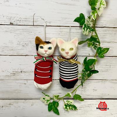 【靴下にゃんこ】2019.11~ 初心者様以上向けワークショップ用。白猫・二毛猫・三毛猫をお作り頂けます。所要時間約3時間