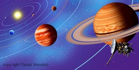 太陽系惑星,土星探索機,イラスト,木星,銀河