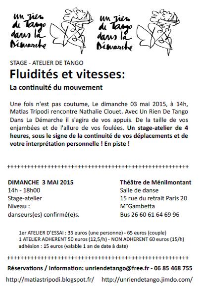 Nathalie Clouet et Matias Tripodi : atelier Continuité du mouvement le 3 Mai 2015
