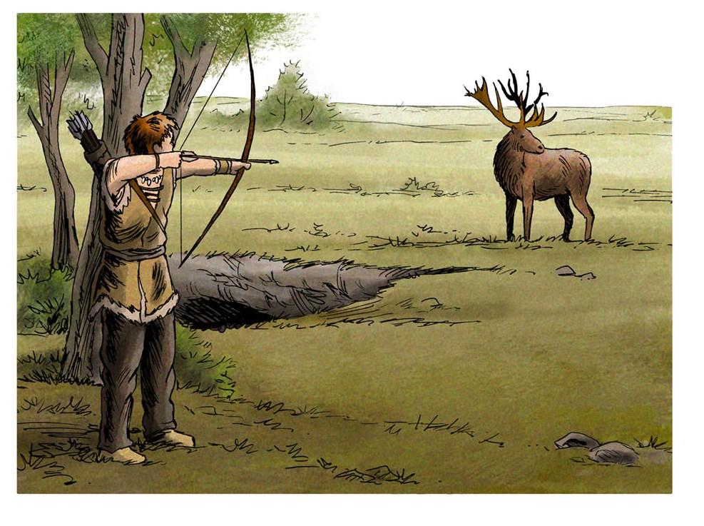 chasse à l'arc (dessin Eric Le Brun)