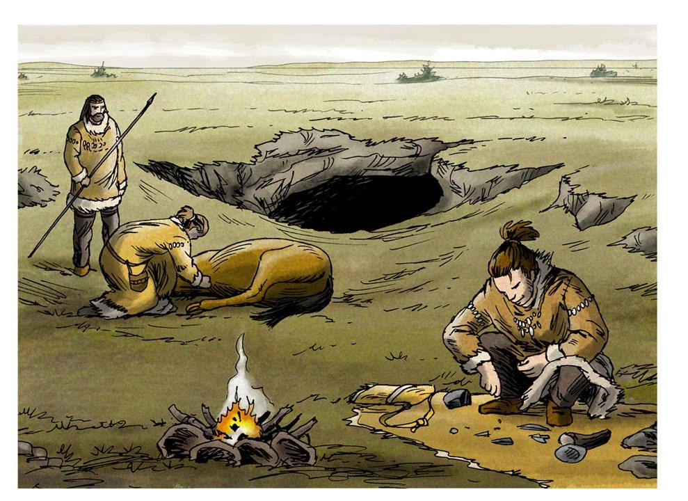 campement temporaire (dessin Eric Le Brun)