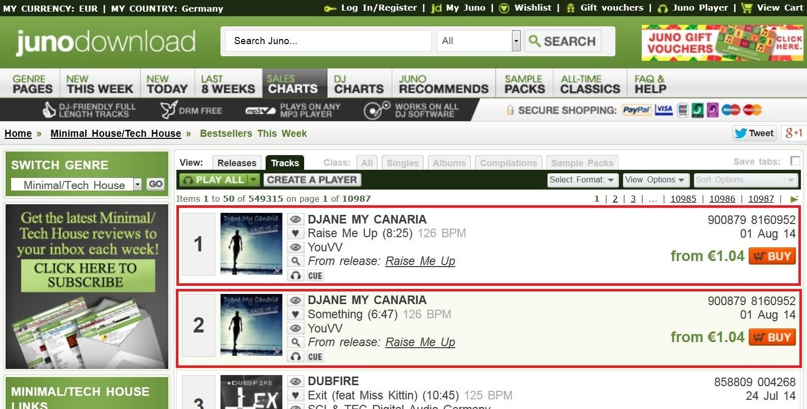 Platz 1 und Platz 2 in den Verkaufscharts mit Raise Me Up und Something