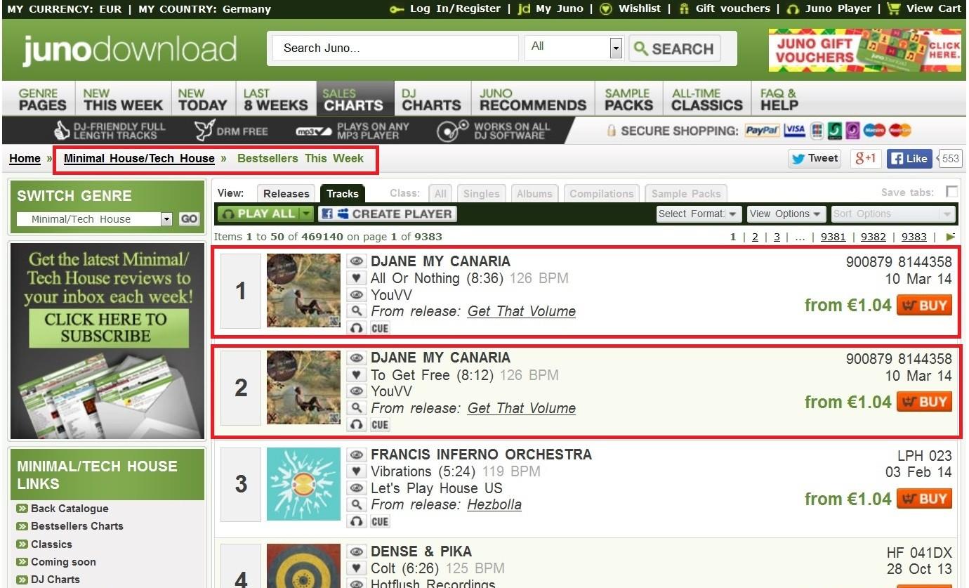 Platz 1 und Platz 2  in den Verkaufs-Charts mit All Or Nothing und To Get Free
