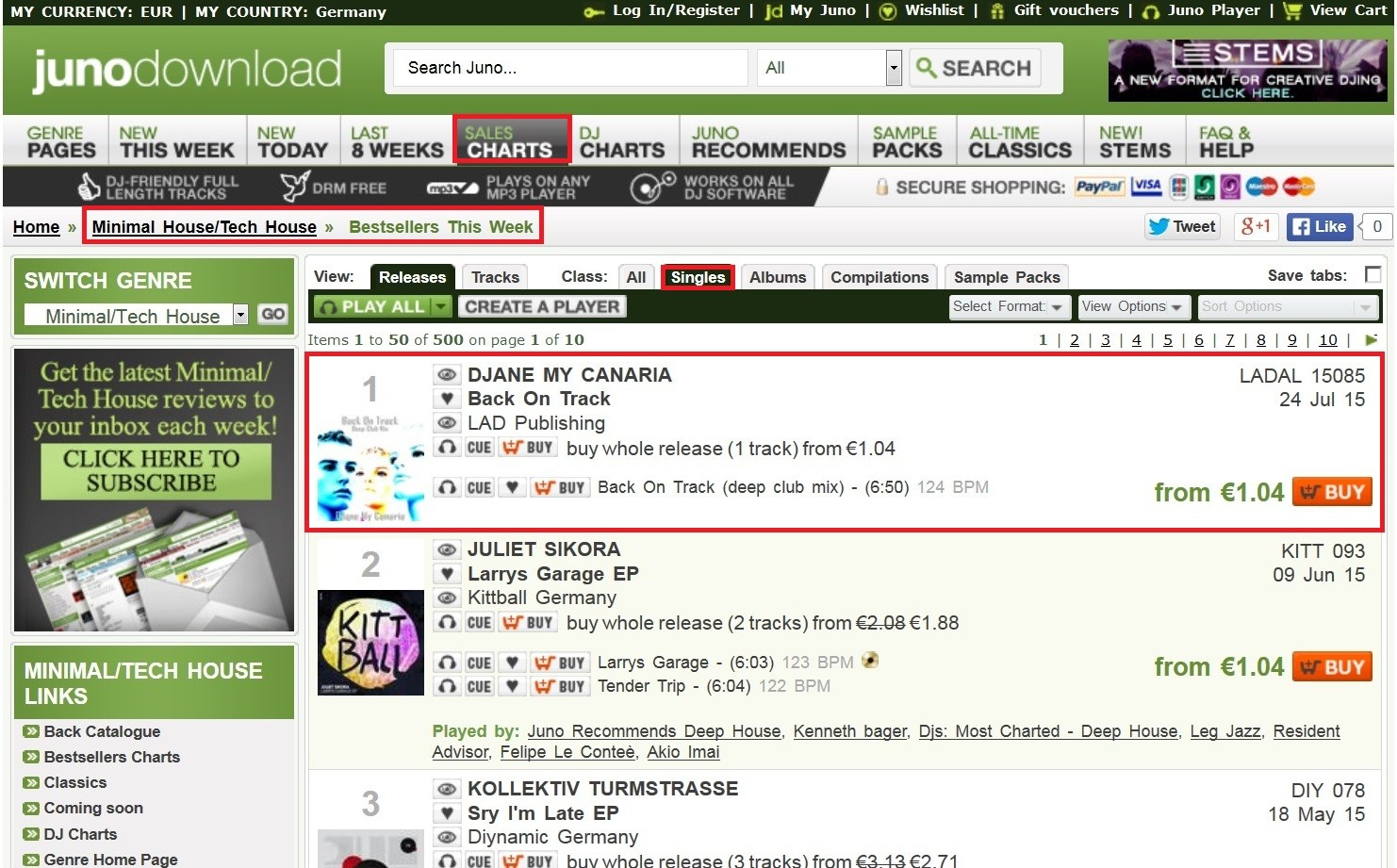 Platz 1 in den Verkaufscharts mit Back On Track Remix