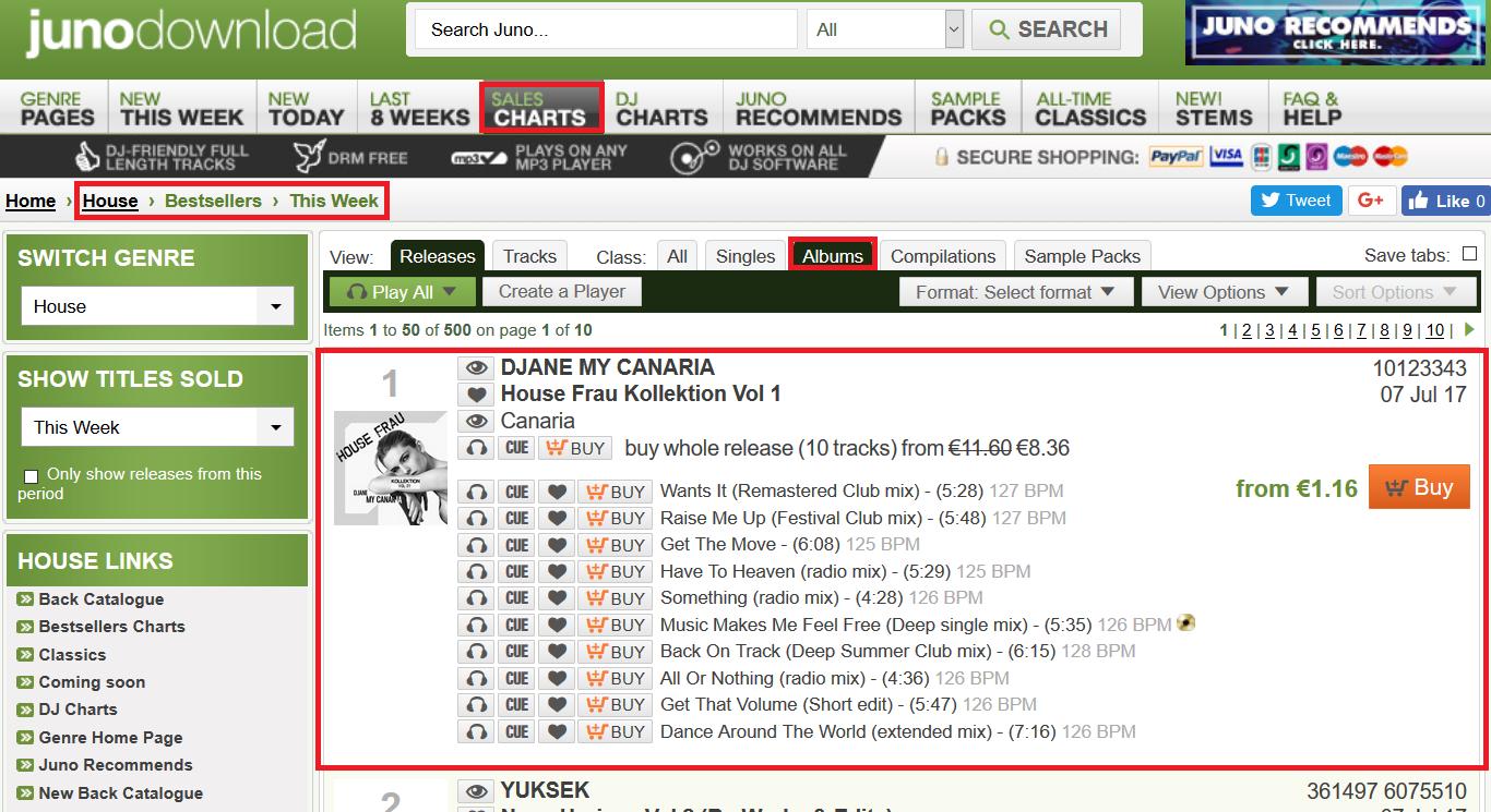 Platz 1 in den Album Verkaufscharts Genre House / House Frau Kollektion Vol. 1