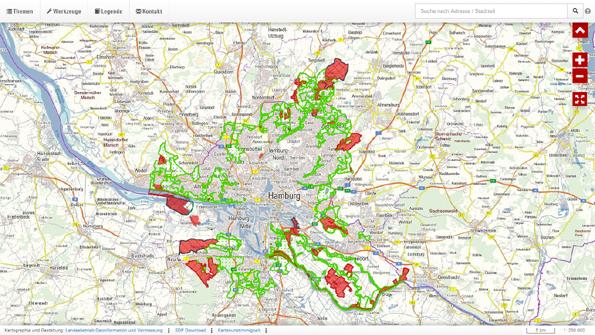 Es stehen nur noch ca. 8,5 % der Landesfläche von Hamburg unter Naturschutz (rot dargestellt)
