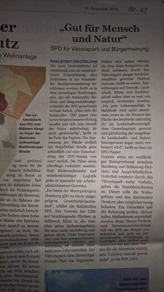 Dass ein Mehr an Verkehr die Lebensqualität mindert und 2016 im Bezirk Wandsbek so viele Gewerbeflächen frei waren wie seit Jahren nicht mehr, scheint der SPD nicht bewusst zu sein.
