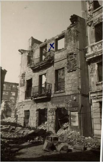 Las ruinas de la primera casa del Instituto que se perdio en el incendio que hubo en Santander  en  la noche del 15  al 16 de febrero de 1941.
