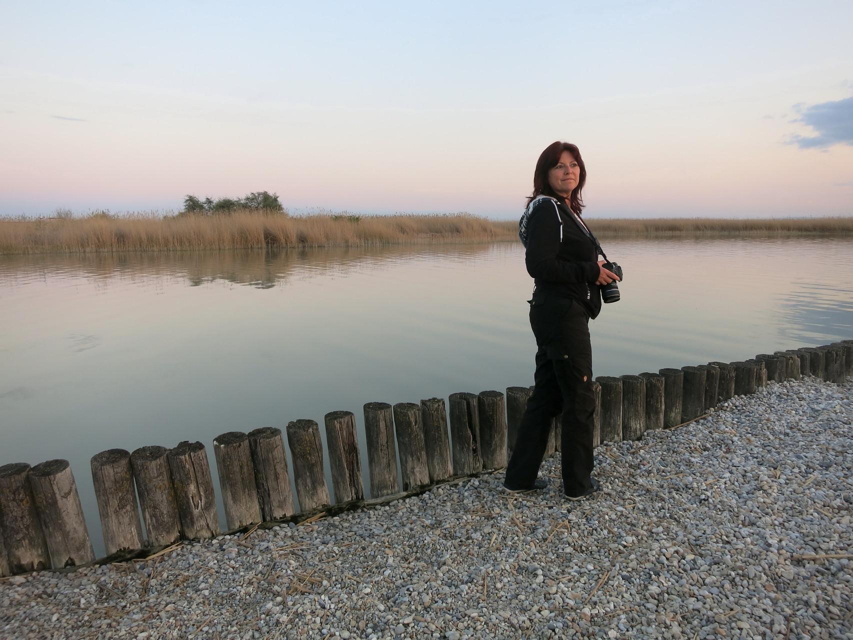 Österreich; Warten auf den Sonnenuntergang am Neusiedler See