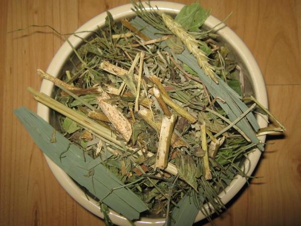 Die Basis: Täglich müssen mindestens 30 verschiedene getrocknete Kräuter, Blätter & Blüten angeboten werden