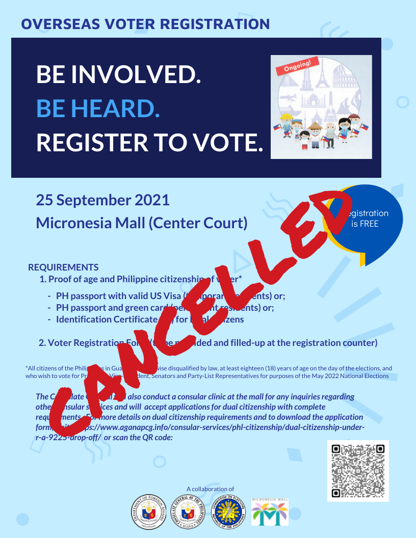 September 25th Mobile Overseas Voter Registration Event at Micronesia Mall Cancelled