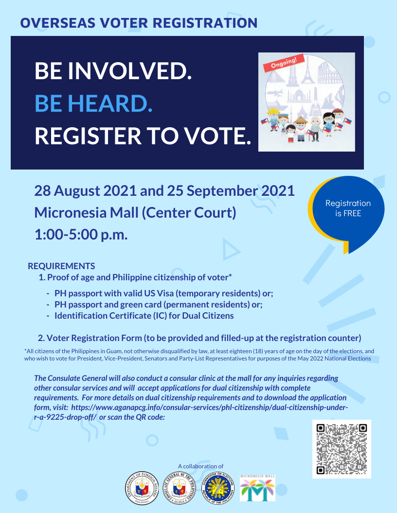 Overseas Voter Registration and Consular Clinic -- 28 August 2021 & 25 September 2021 at the Micronesia Mall