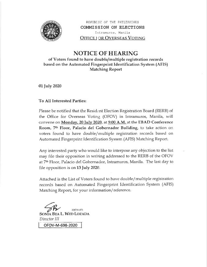 Notice of Hearing of Voters with Double or Multiple Registration Records Based on AFIS Matching Report