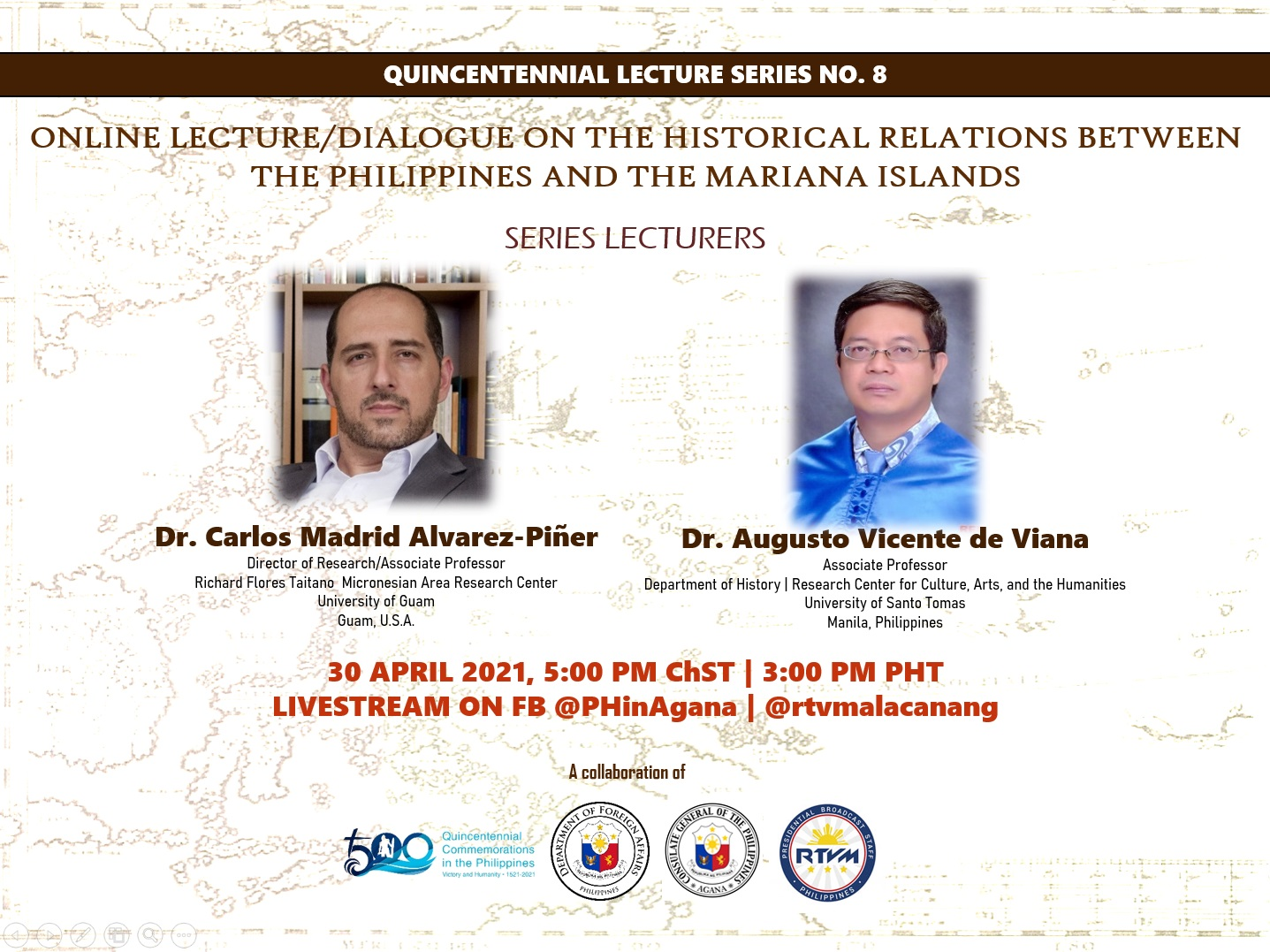 Save the Date: Online Lecture on the Historical Relations between the Philippines and the Mariana Islands, 30 April 2021